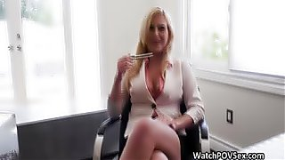 Future mature blonde milf busty secretary cocked at job interview to get the job