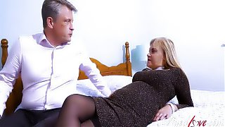 Aged Mature Busty Blonde Fucking An Old Grey Haired  Bussinesman Hard On His Dong