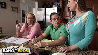 BANGBROS - Stepmom Sara Jay Seduces Carter Cruise and Peter Green Into A Threesome