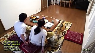 Secretly Game With Mother And Son Kotatsu