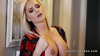 Huge boobs blonde mom fucks huge cock in mff