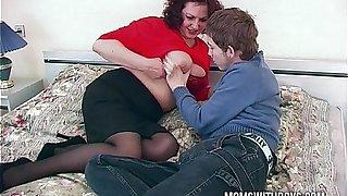 Horny Stepmom Lures Stepson Into A Trap