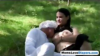 Outdoor brunette milf breastfeed anal strap on
