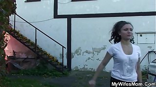 Busty mother in law taboo sex outdoors