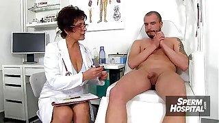 CFNM handjob at hospital feat. stockings lady Danielle