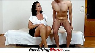 Busty plumper housewife Danielle facesitting a tiny boy
