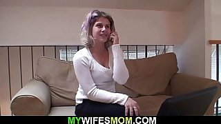 Busty m.-in-law rides his cock after pussy toying
