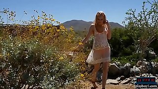 Tiny body blonde teenie gets naked on a dream date
