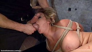 Submissive blonde big tits MILF slave Abbey Brooks in rope bondage made sucking balls to masters Bill Bailey then got pussy rough fucked