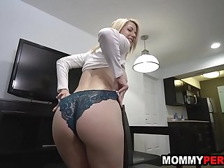 Stepmom sucking her son'_s dick while he phone calls girlfriend