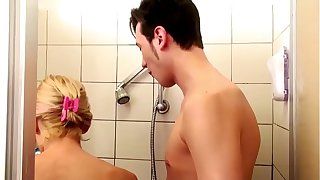 German Step-Mom help Son in Shower and Seduce to Fuck