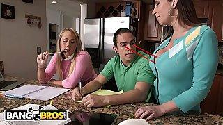 BANGBROS - Stepmom Sara Jay Seduces Carter Cruise and Peter Green Into A Threesome