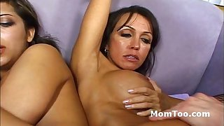 Skinny daughter and busty mother fucked sideways blow stiff cock together
