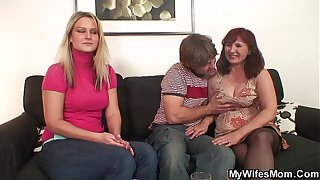 Girlfriends mother in stockings sucks and rides cock