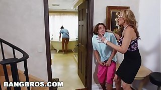 BANGBROS - Stepmom threesome with the Latina maid Abby Lee Brazil