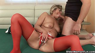 Grandma's pussy gets fucked by her toy boy