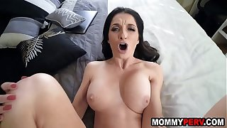 Lonely stepmom fucks son because dad is always busy