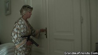 Blonde old mature swallows two young dicks
