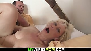 Blonde mother-in-law seduces him into cheating sex
