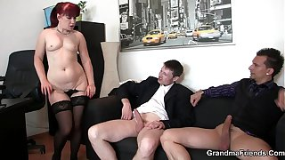 Mature office lady in stockings riding and sucking