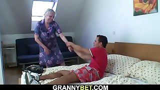 Busty blonde granny