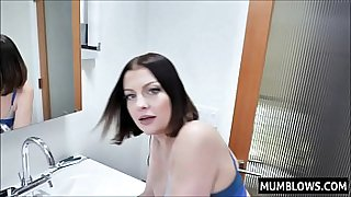 Horny Mom interrupts poor Son in the lavatory