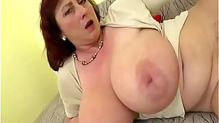 Plump mom with big saggy boobs