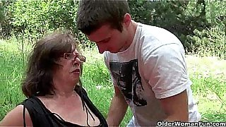 Nothing feels better than grandma's cunt outdoors