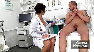 Sexy uniform lady jerks off a boy patient feat. doctor Marta