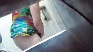 Bad boy caught his mature mom fingering in bathroom