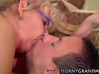Grannys mouth drips warm cum