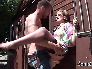 Unfaithful british mature gill ellis flashes her massive titties